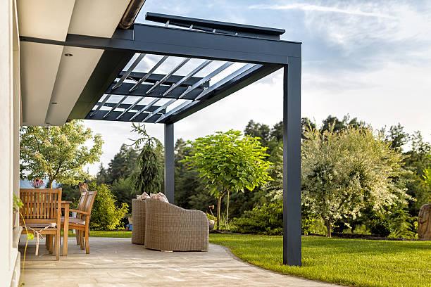 luxury terrace on a sunny day - naturstein terrasse stock-fotos und bilder