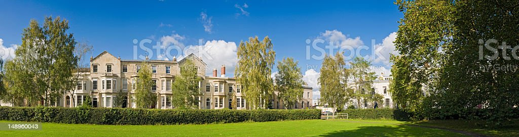 Luxury townhouses green park royalty-free stock photo
