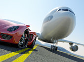 A red sports car parked in front of a large jet airplane engine. Very high resolution 3D render.