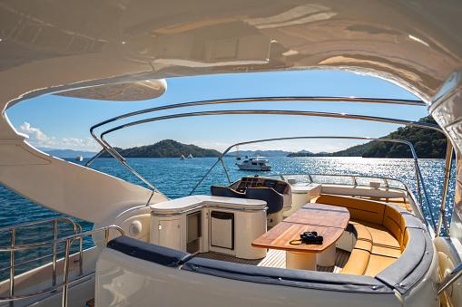 Luxury Traveling. Interior of Modern Motor Yacht