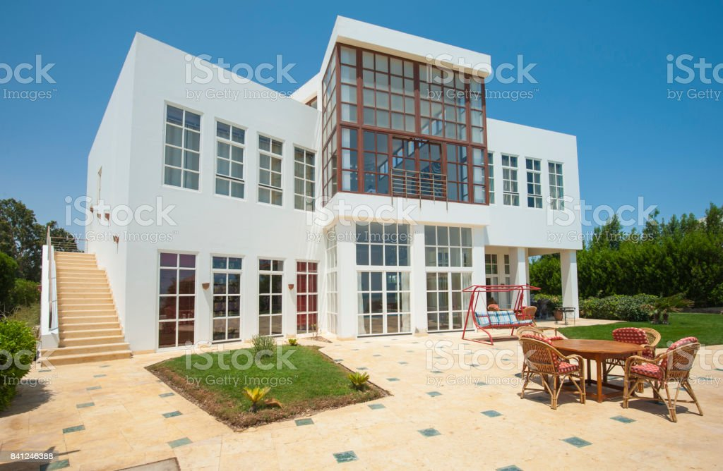 Luxury tropical holiday villa with garden royalty-free stock photo
