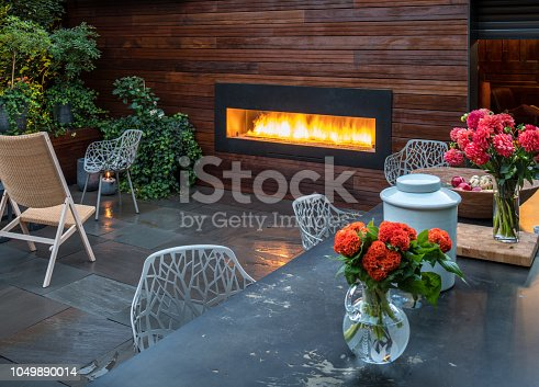 Partial view of backyard garden and patio of luxury urban home with outdoor fireplace and slated floor.