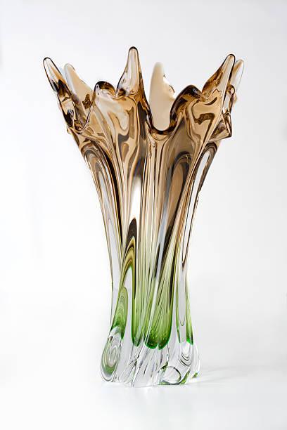 luxury vase of bohemian glass. green and brown. - vase glas stock-fotos und bilder