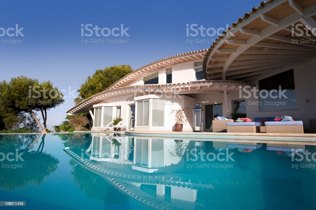 Luxury Villa and Pool stock photo