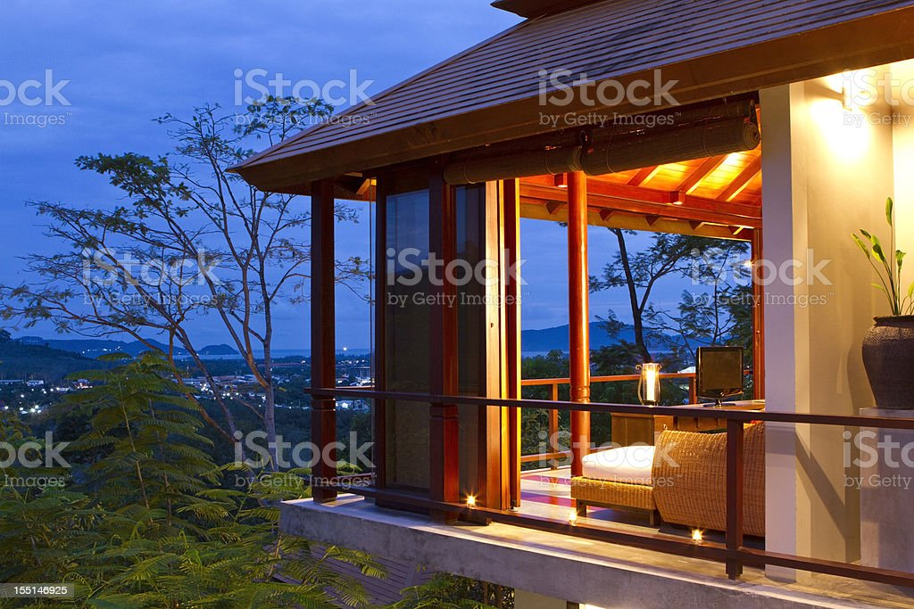 Luxury villa at dusk royalty-free stock photo