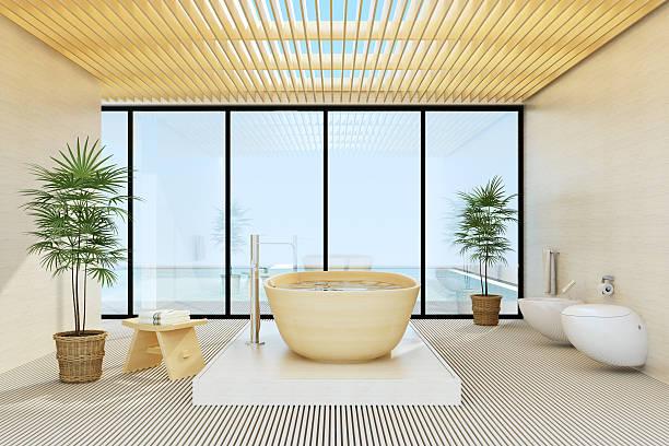 luxury villa – badezimmer - einfache holzprojekte stock-fotos und bilder