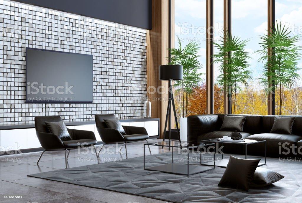 Photo Libre De Droit De Luxe Villa Salon Intérieur Avec Un