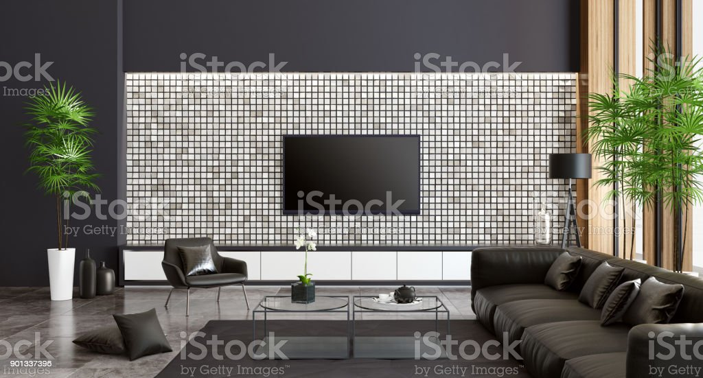 Luxus Villa Wohnzimmer Interieur mit modernen schwarzen Möbeln. – Foto