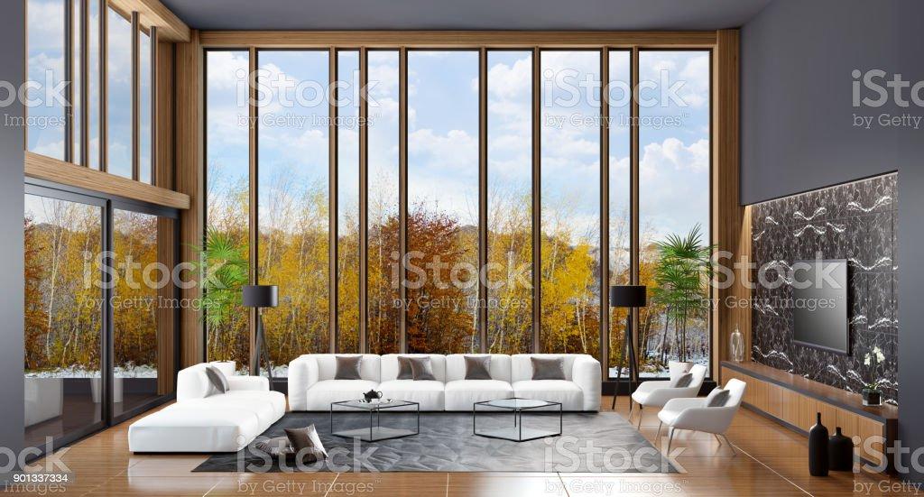 Luxus Villa Wohnzimmer Interieur Mit Modernen Weißen Möbeln ...