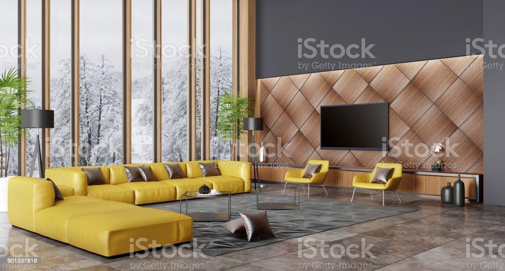 Luxury Villa Living Room Interior With Modern Yellow