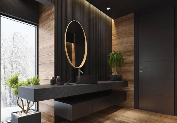 luxus villa minimalistischen schwarz bad - badezimmermöbel holz stock-fotos und bilder