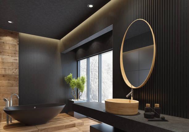 luxus villa minimalistischen schwarz bad - minimalbadezimmer stock-fotos und bilder