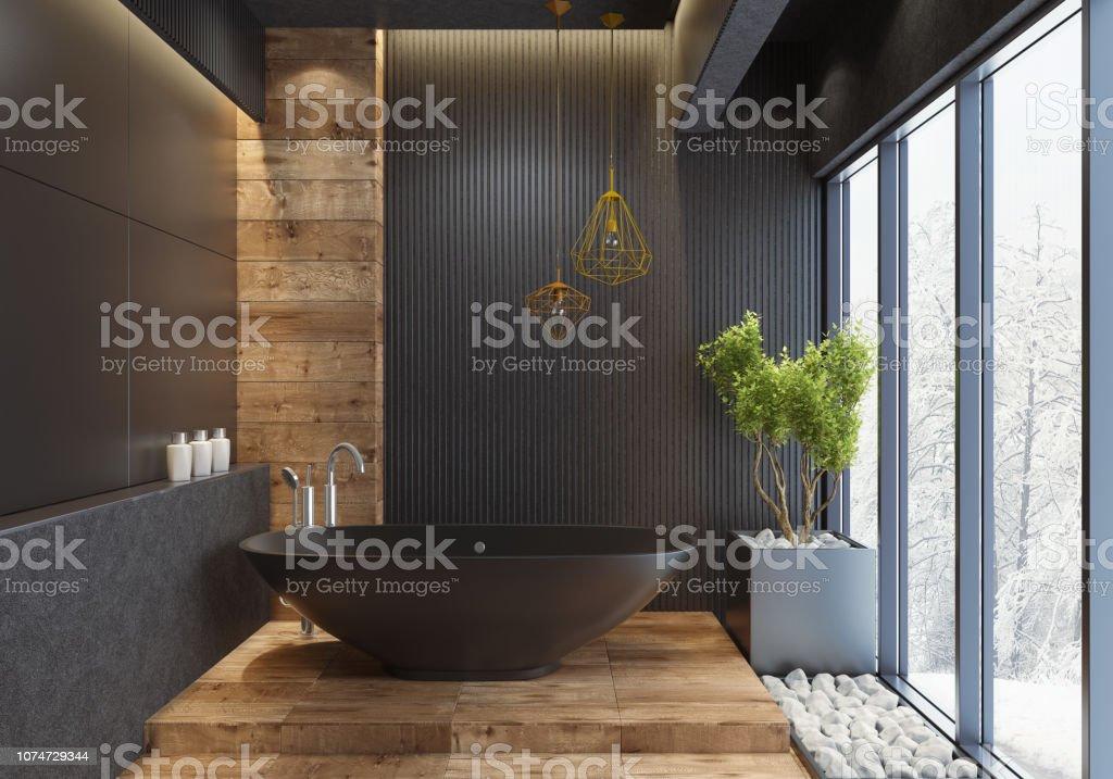 Luxus Villa minimalistischen schwarz Bad – Foto