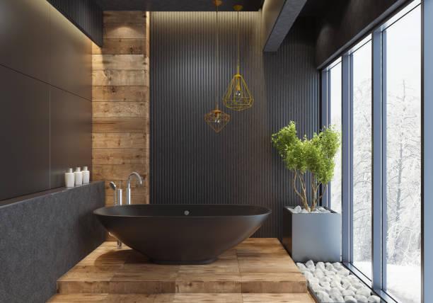 luxus villa minimalistischen schwarz bad - badewanne holz stock-fotos und bilder