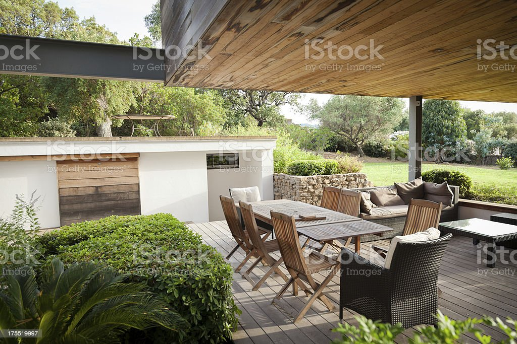 Luxury Villa Patio with Garden stock photo