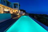 Luxury Villa Pool Deck at Dusk