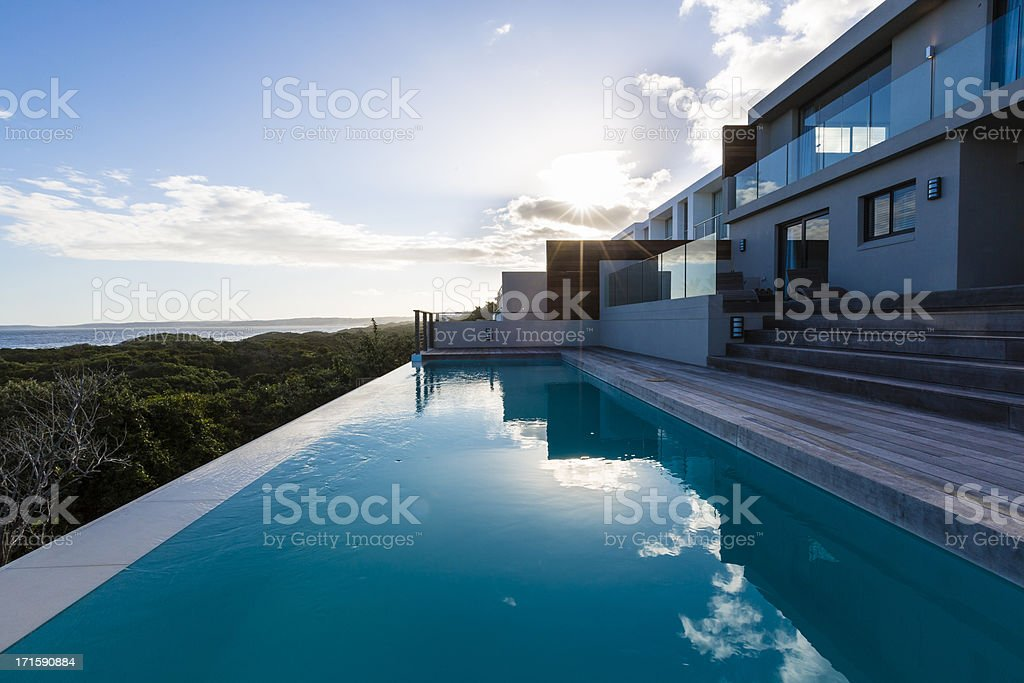 Luxury Villa Pool Deck stock photo