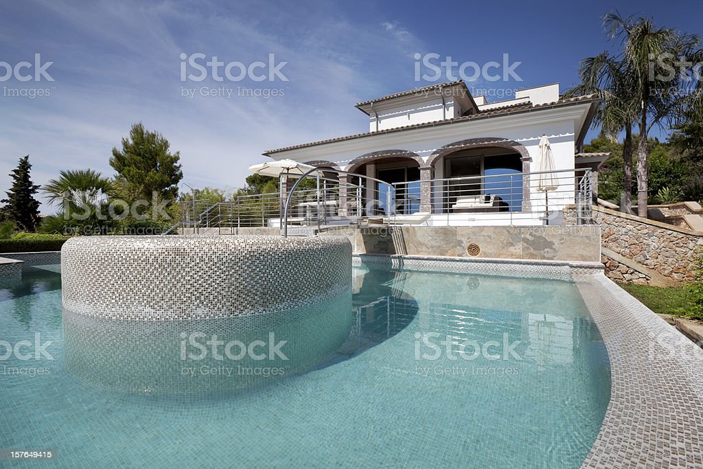 Spectacular modern Mediterranean villa and pool with hot tub sunk...
