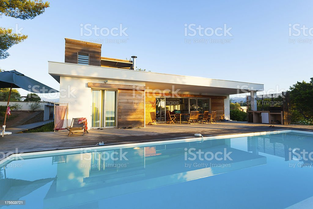 Luxury Villa with Swimming Pool stock photo