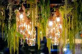 Luxury vintage glass lamp with vine decoration.