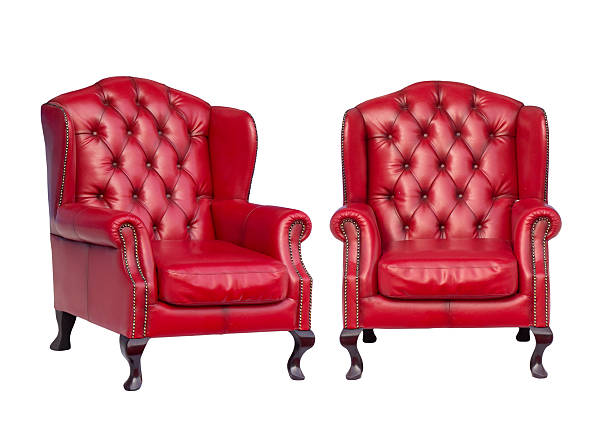 Luxury vintage red armchair Luxury vintage red armchair on white background armchair stock pictures, royalty-free photos & images