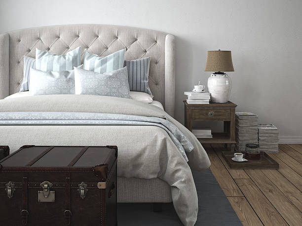 luxury vintage style bedroom. 3d rendering 3d rendering. a luxury modern style bedroom. duvet stock pictures, royalty-free photos & images