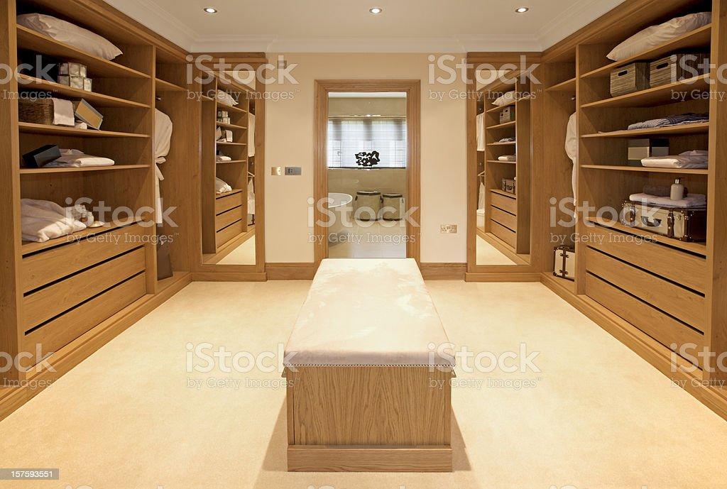 luxury walk-in wardrobe stock photo