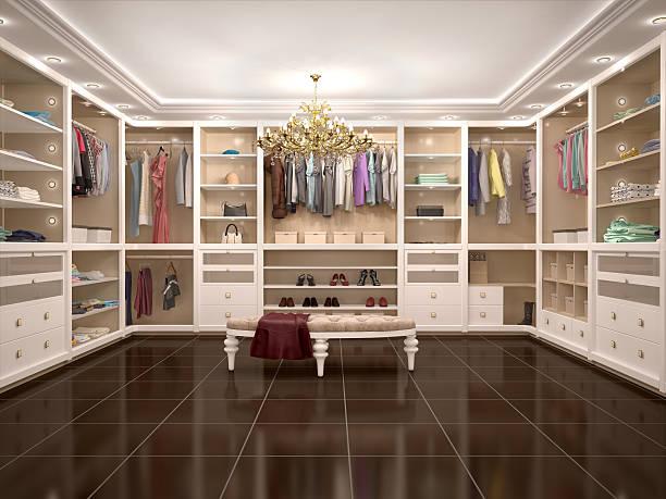 luxury wardrobe in modern style. - kleiderschrank ohne türen stock-fotos und bilder