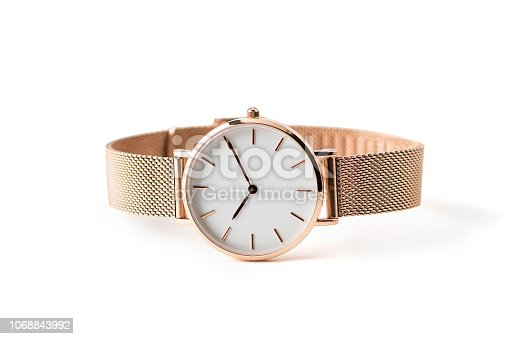 istock Luxury watch isolated on white background. With clipping path. Gold watch. Women watch. Female watch. 1068843992