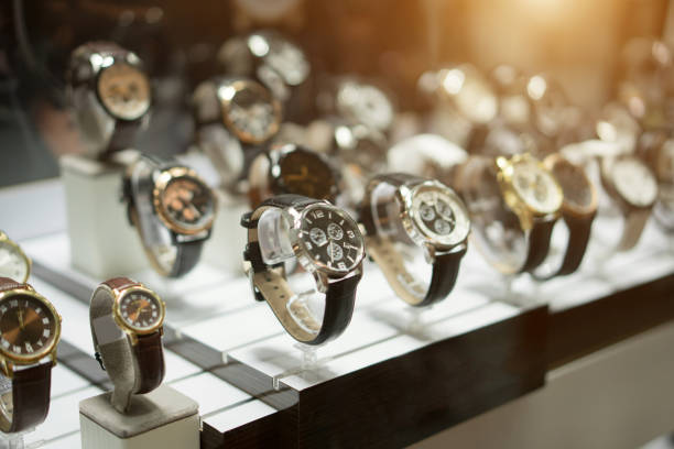 Luxury Watches at showcase stock photo