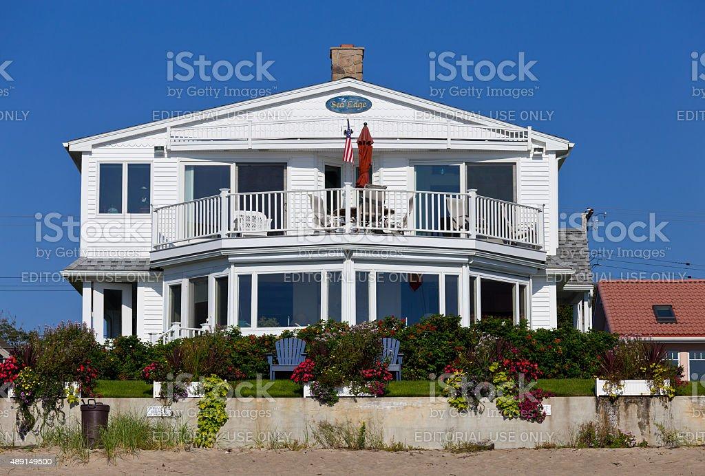Luxury Waterfront Beach House, Ogunquit, Maine, New England, USA. stock photo