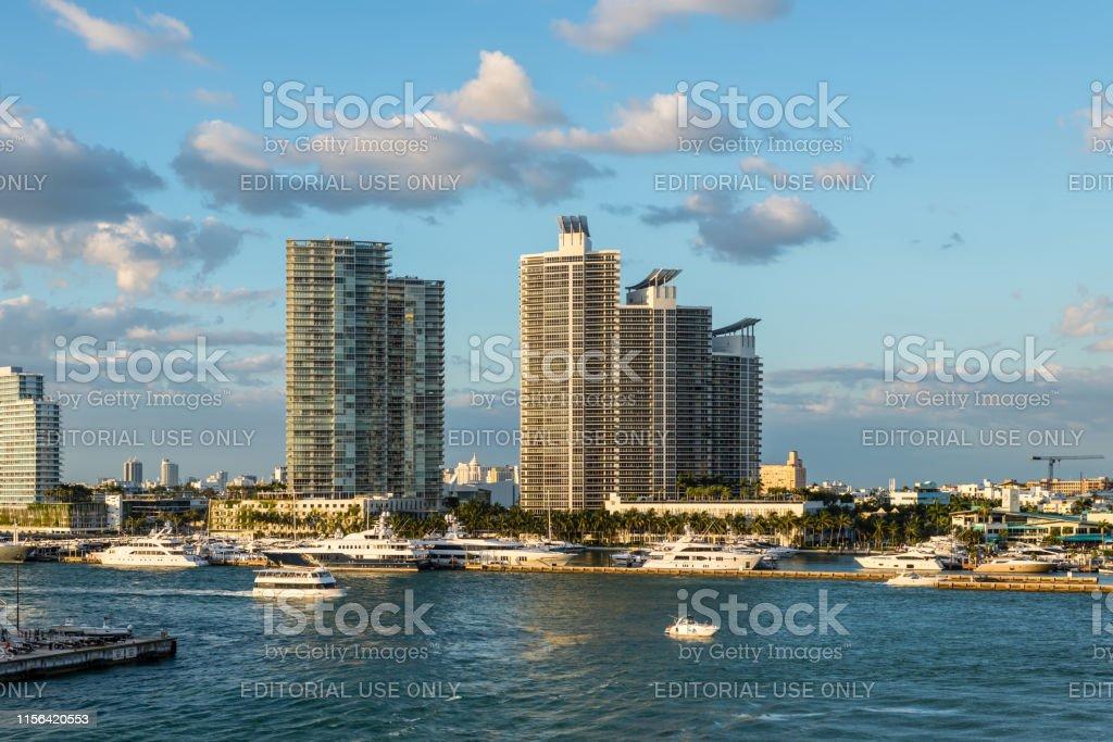 Miami, FL, United States - April 20, 2019: Highrise apartment...