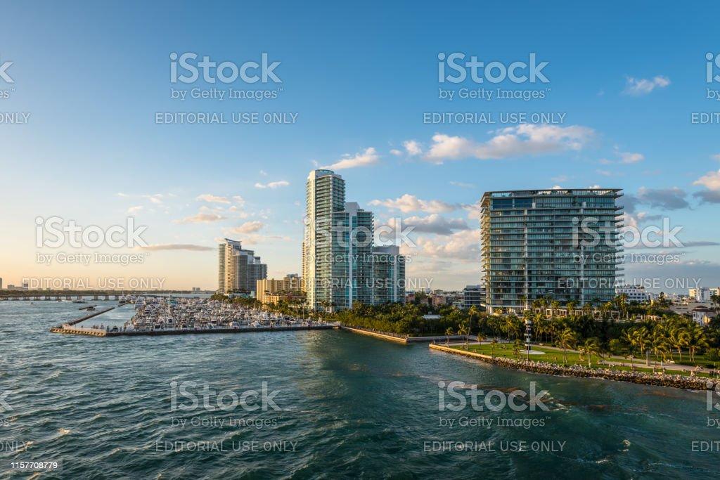 Miami, FL, United States - April 20, 2019: Late day view of Miami,...
