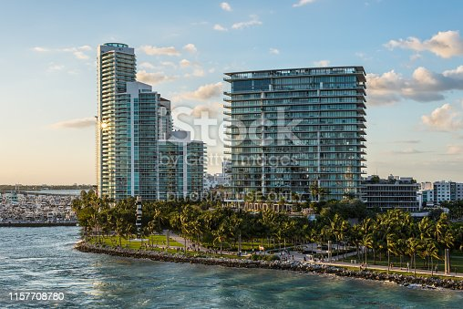 Miami, FL, United States - April 20, 2019:  Highrise apartment buildings located at South Pointe Park on the Sunset in Miami Beach, Florida, United States of America.