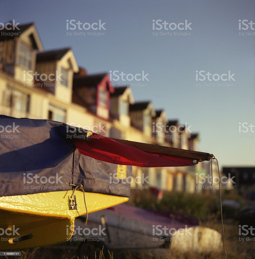 Luxury waterfront homes with small private boats stock photo