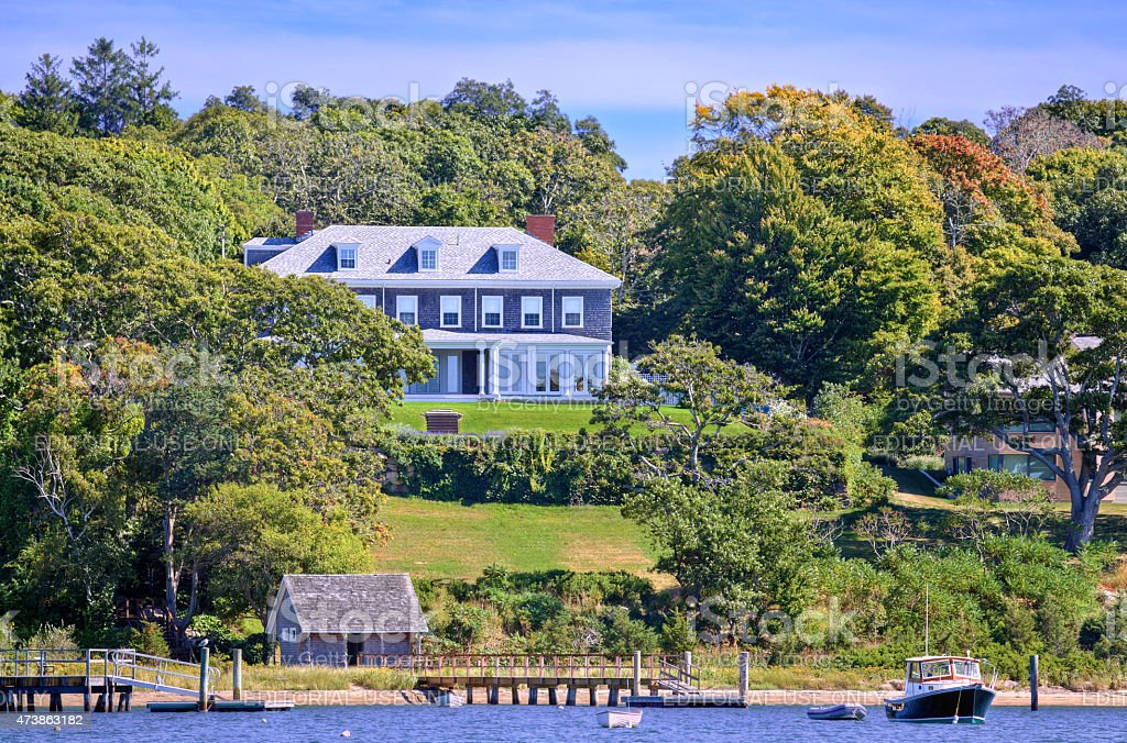 Luxury Waterfront New England House at The Knob, Falmouth, Massachusetts. stock photo