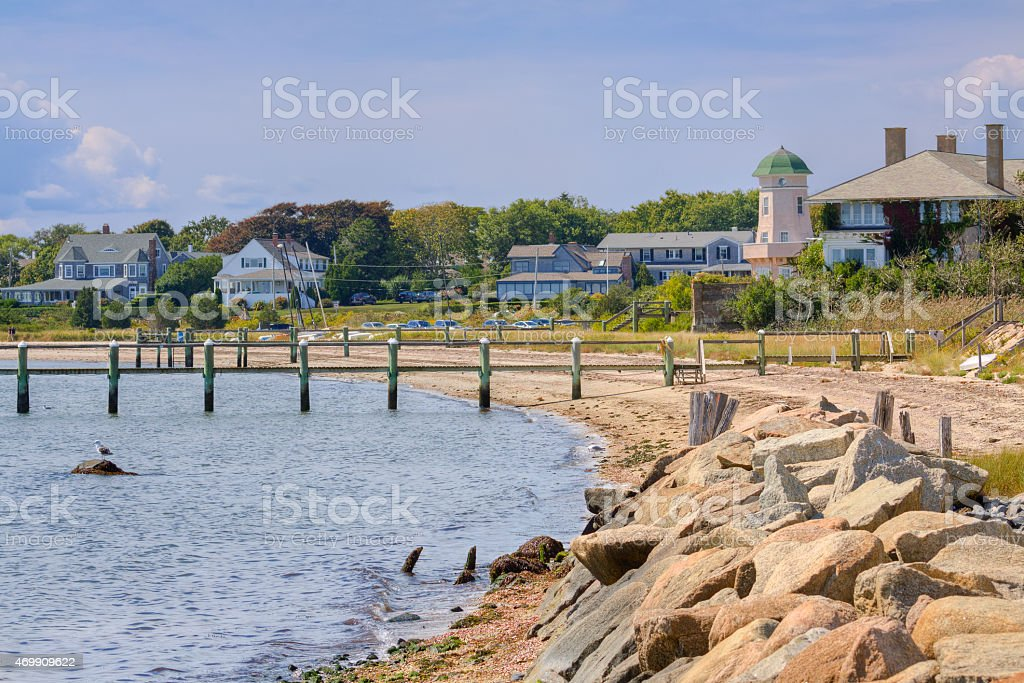 Luxury Waterfront New England Houses, Hyannis, Cape Cod, Massachusetts, USA. stock photo