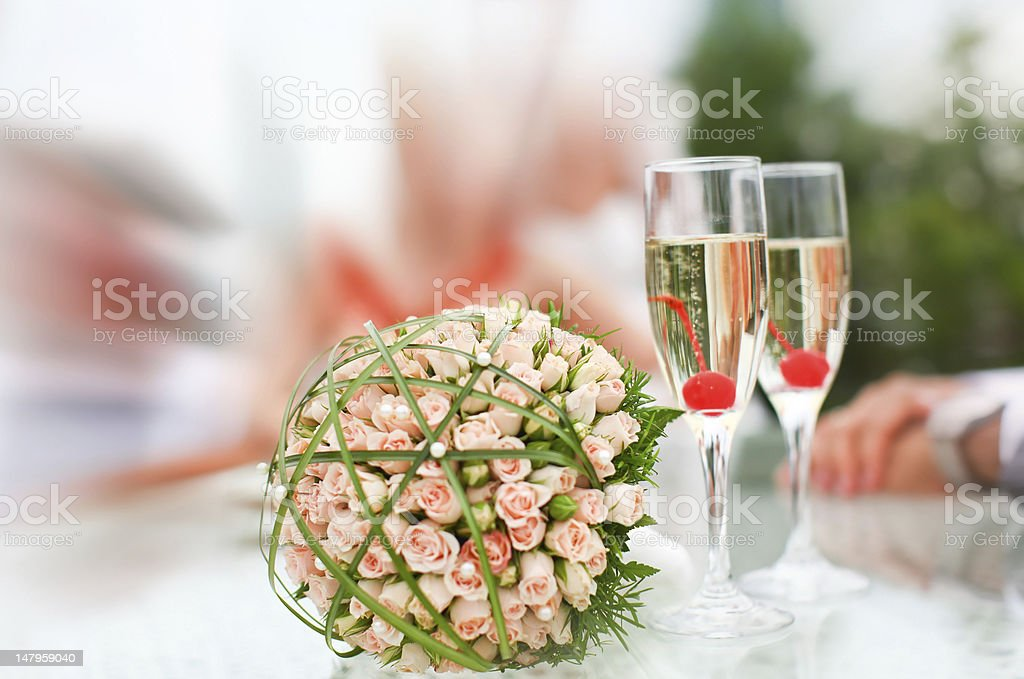 Luxury wedding bouquet of roses with champagne royalty-free stock photo
