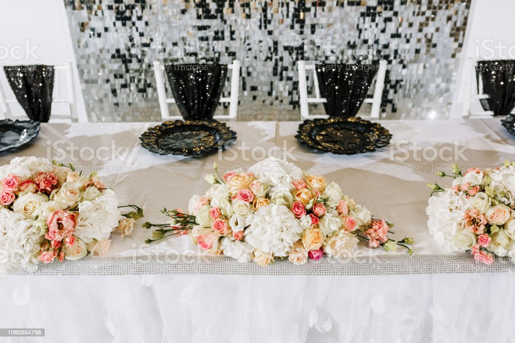 Luxury Wedding Decor With Flowers And Glass Vases Arrangements Of Decorations At Wedding Reception Expensive Catering Black And White Colors Space For Text Stock Photo Download Image Now Istock