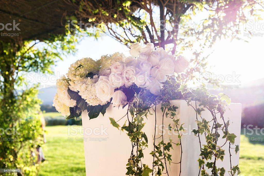 Luxury wedding flowers decoration stock photo
