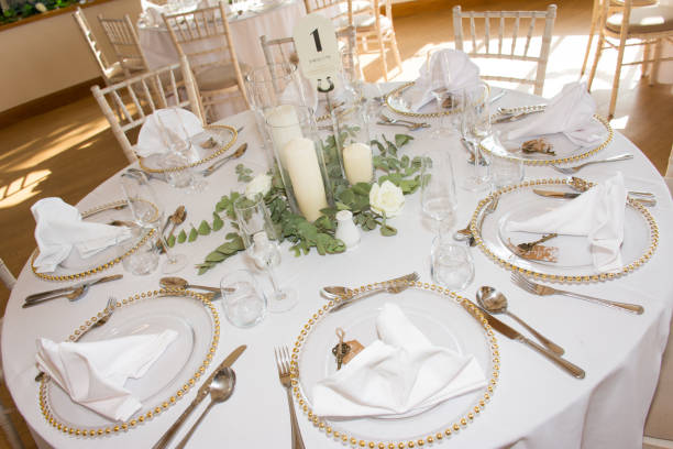 Luxury wedding reception dinning table setup stock photo