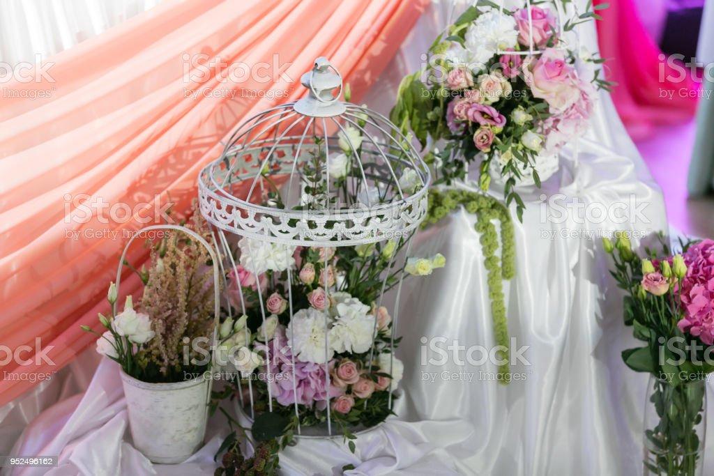 Luxury wedding reception in restaurant. stylish decor and adorning....