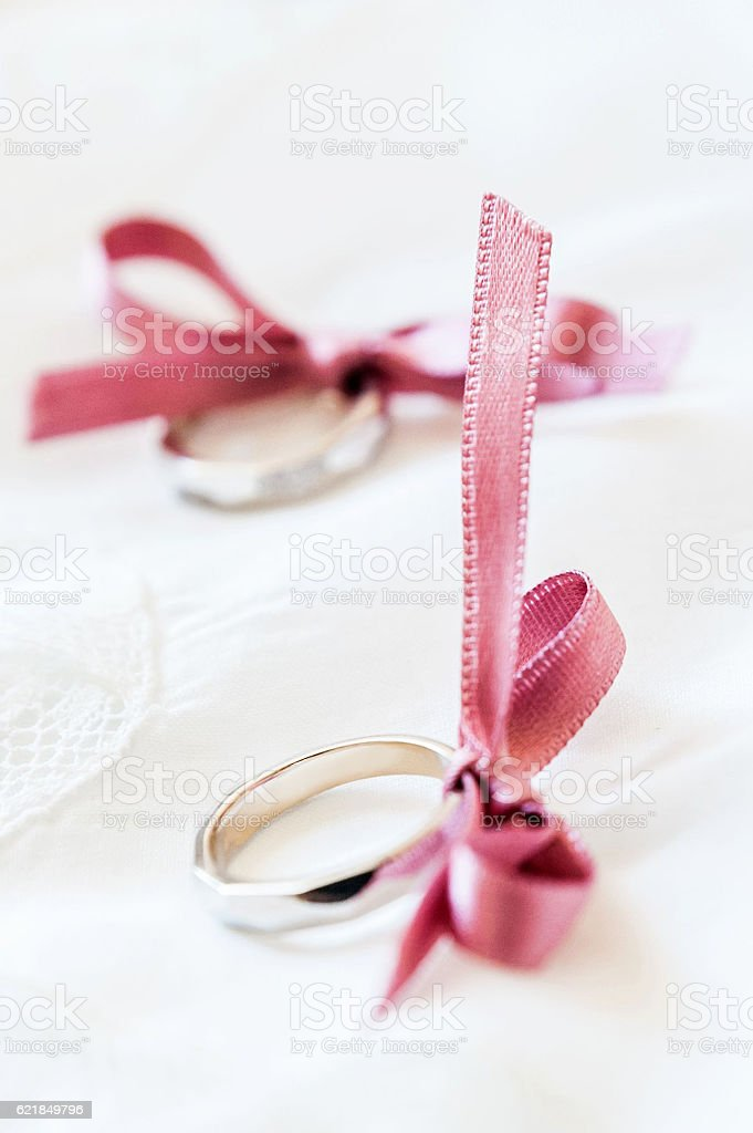 Luxury wedding rings stock photo