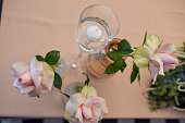 Luxury wedding table decoration. Special event table set up. Fresh flower decoration. Pastel colors.close up.