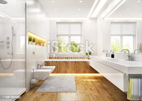 istock Luxury white bathroom in modern house 1168780480