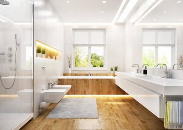 banheiro branco luxuoso na casa moderna - banheiro doméstico - fotografias e filmes do acervo