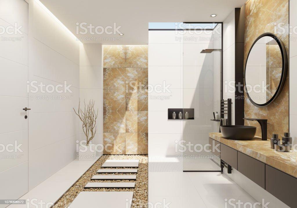 Weiße Luxus-Badezimmer mit gold Onyx und Fett schwarz details – Foto