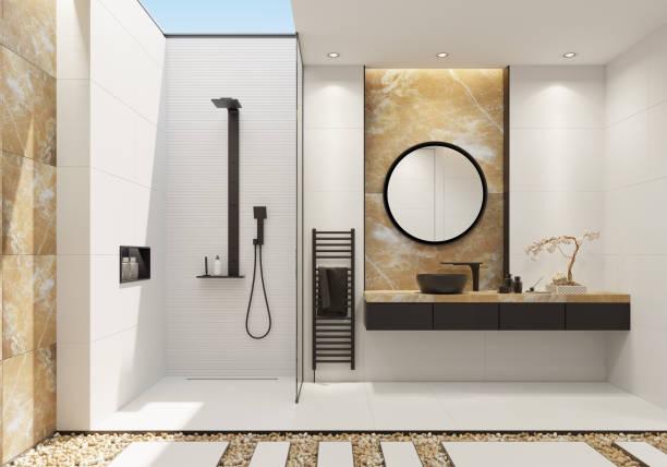 luxe witte badkamer met gouden onyx en vet details in het zwart - onyx stockfoto's en -beelden