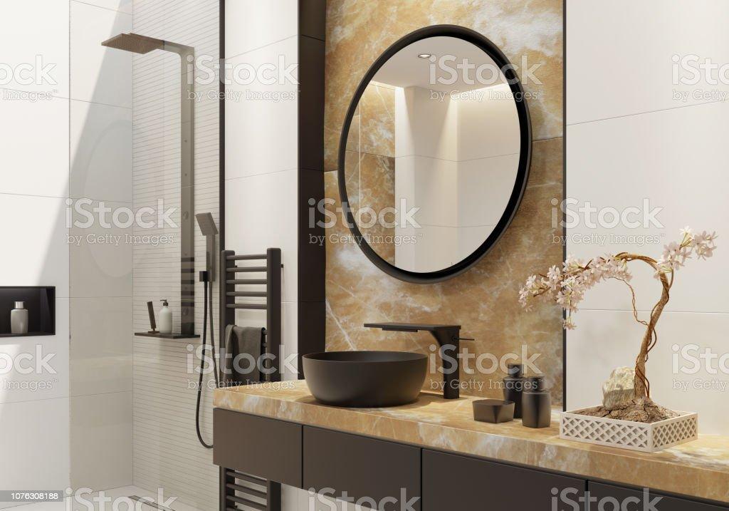 Weisse Luxusbadezimmer Mit Gold Onyx Und Fett Schwarz Details