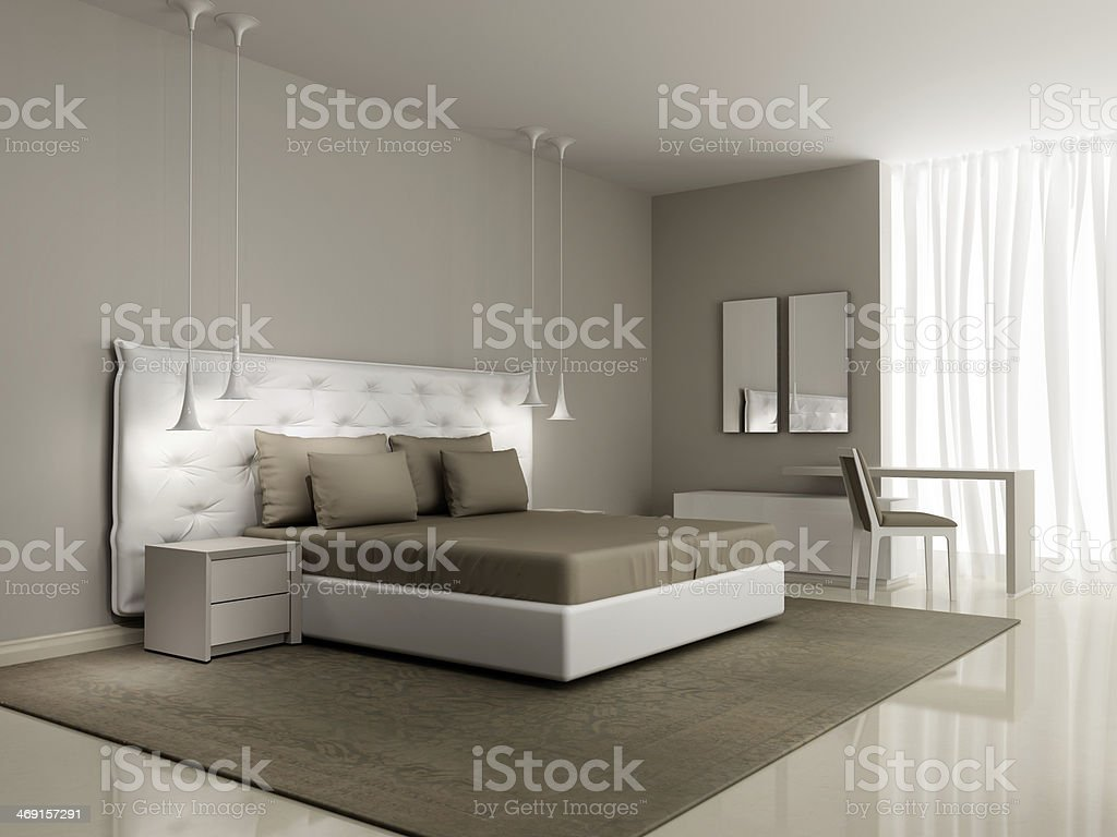Luxury white bedroom with buttoned bed stock photo